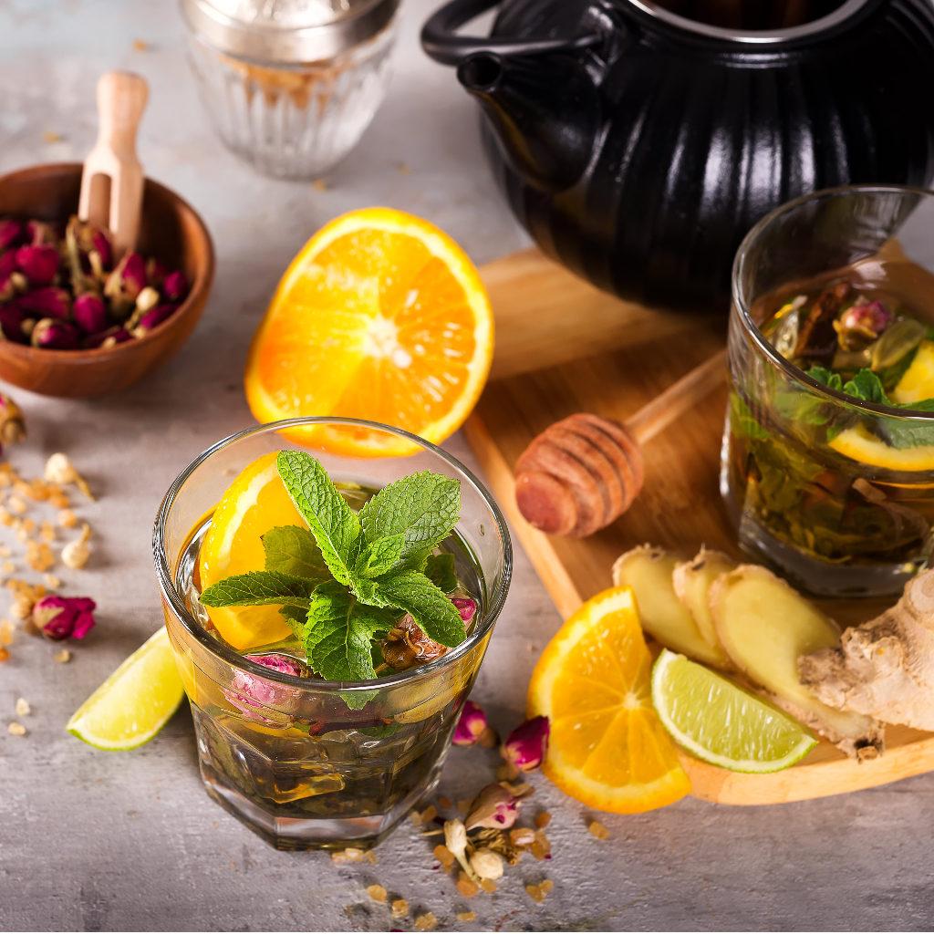 Ingredients for delicious orange green tea