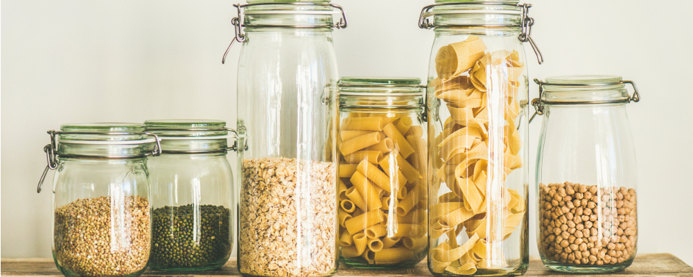 Cereal, grain and pasta in air tight containers