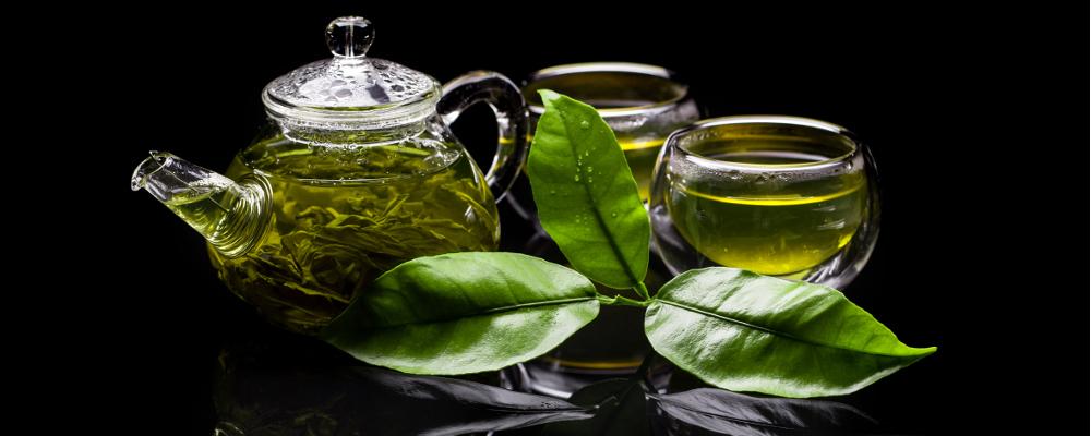 Freshly brewed pot of green tea