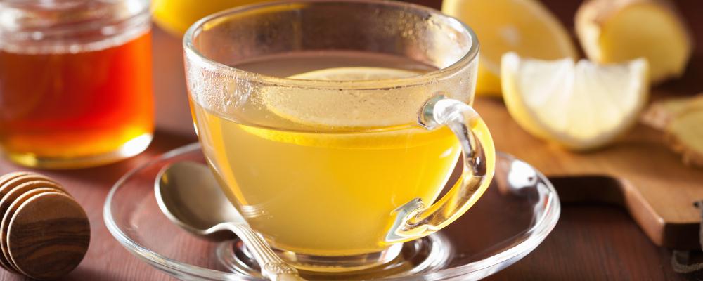 Honey Lemon Tea in a Glass Cup