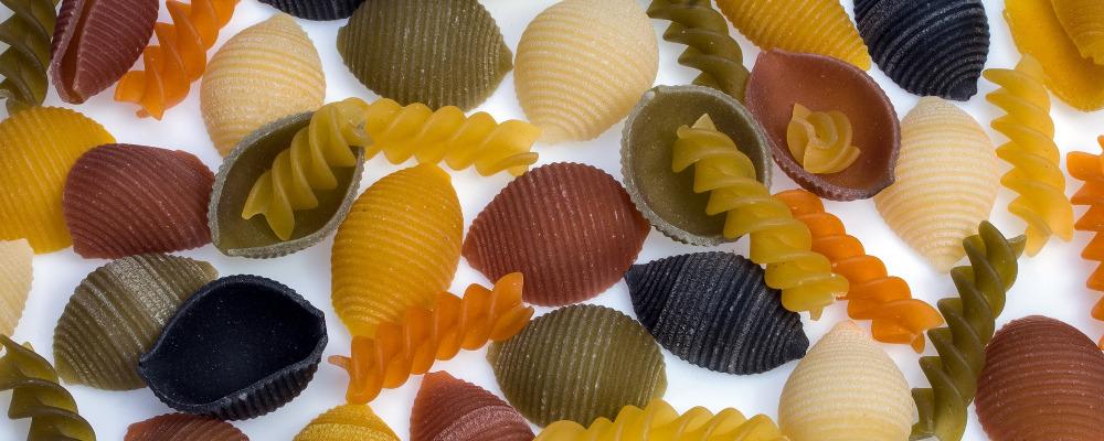 Colourful pasta shells